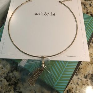 Stella & Dot gold choker with tassel